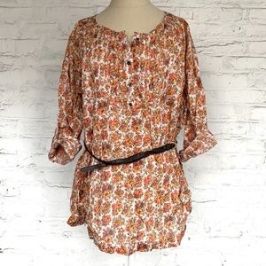 Art and Soul tunic blouse orange floral top belted